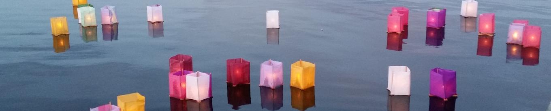 Lanterns on river